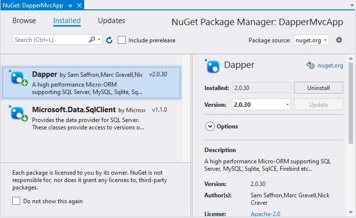 ASP NET Core | Dapper