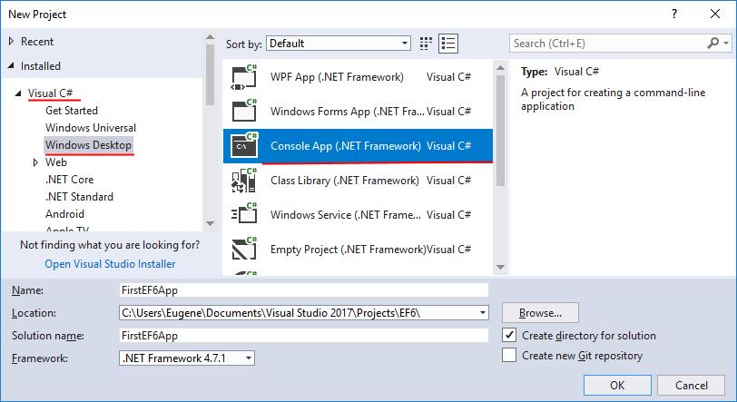 Создание проекта для Entity Framework 6