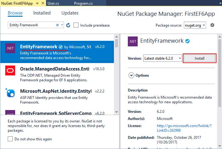 Установка Entity Framework