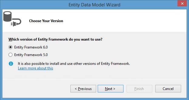 Выбор версии Entity Framework