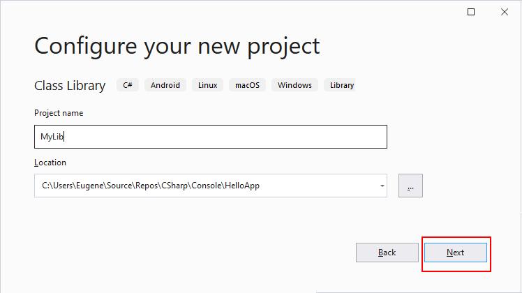 Class Library in .NET Core